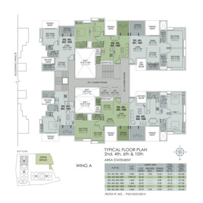 Wing A - 2nd,4th,6th,8th & 10th Floor Plan