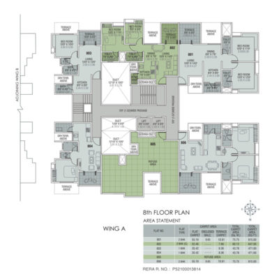 Wing A -8th Floor Plan